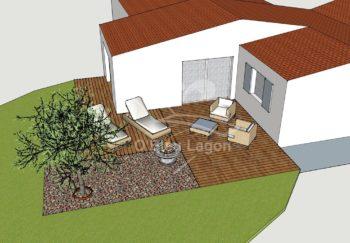 simulation 3d espace terrasse bois vegetation