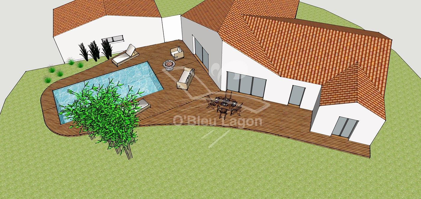 simulation 3d plan terrasse espace piscine