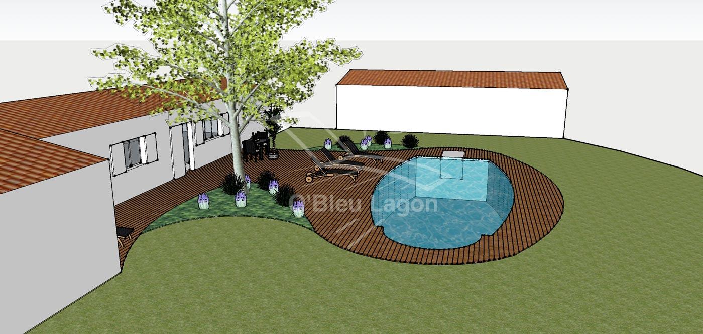 simulation 3d projet espace terrasse piscine arrondie