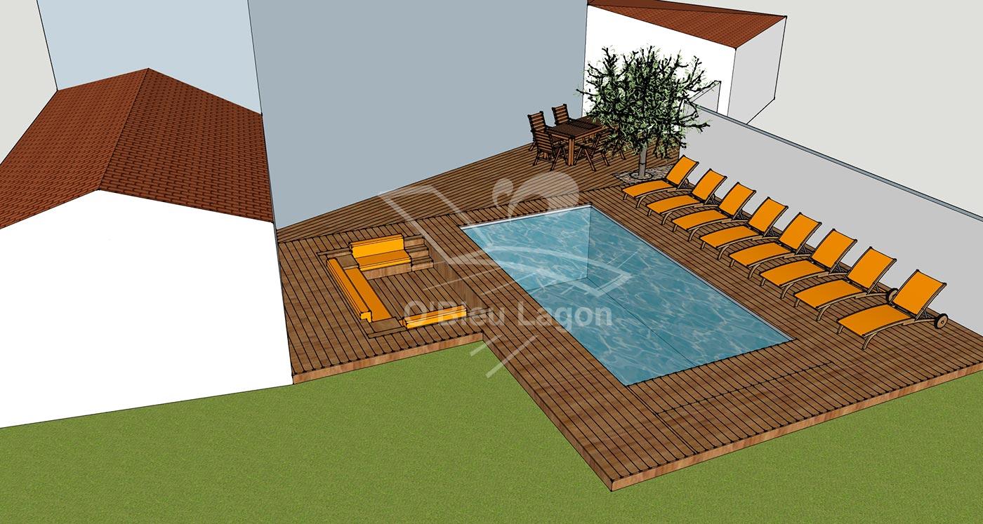 simulation 3d projet espace terrasse piscine salon marocain