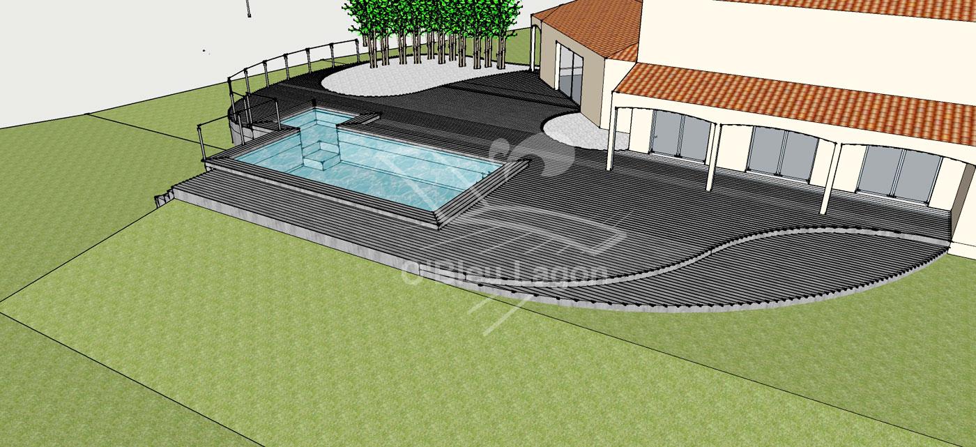 simulation 3d projet terrasse original avec piscine