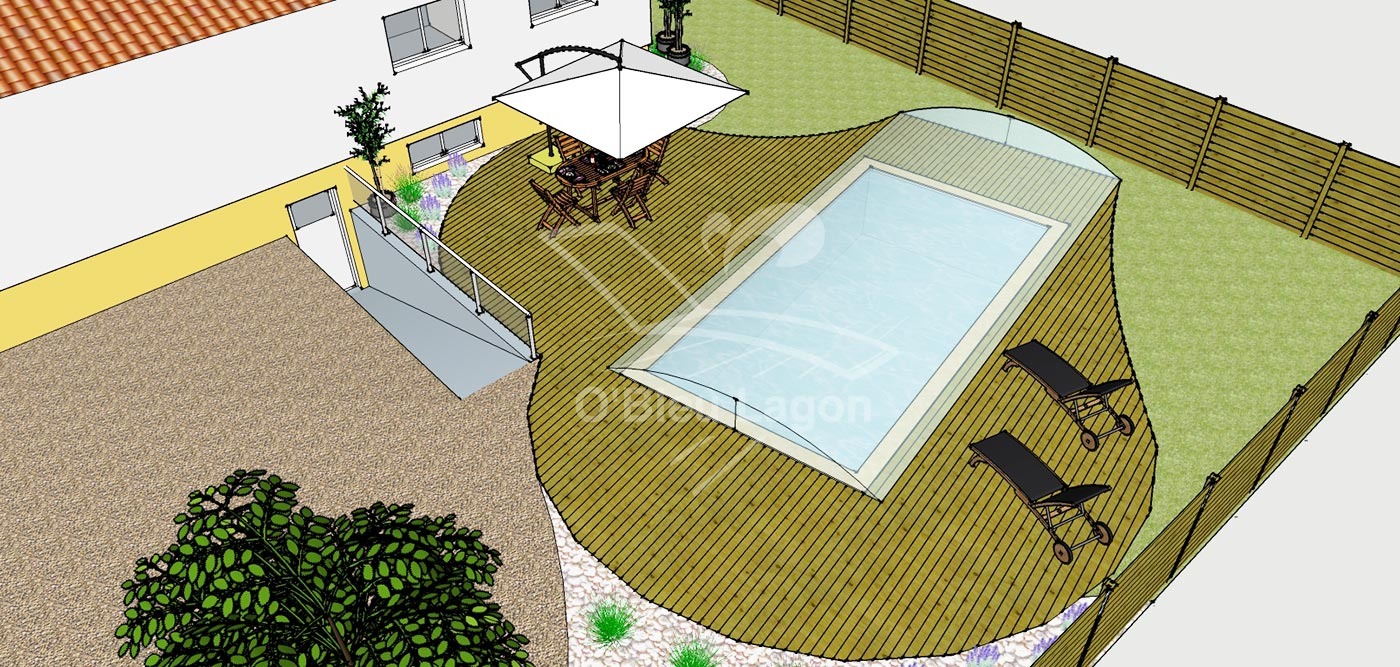 simulation 3d projet terrasse piscine arrondie