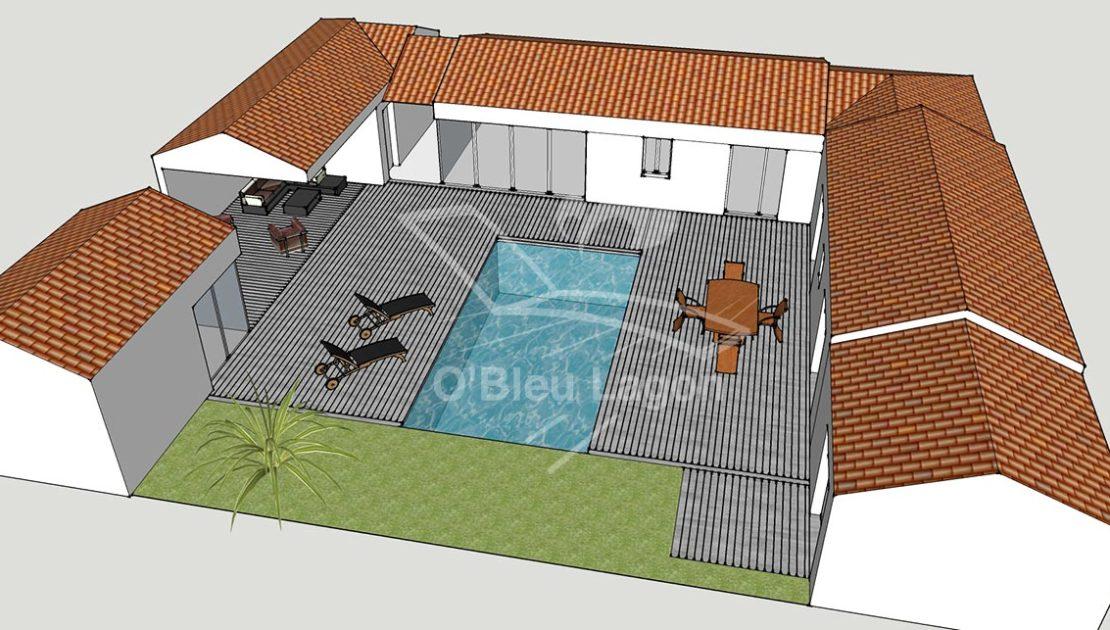 simulation perspective projet terrasse bois piscine